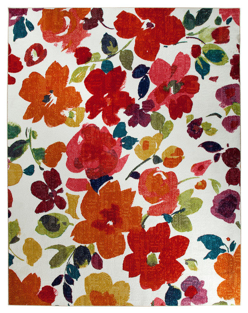 "Bright Floral Toss Rug, Multicolor, 7&x27;6""x10&x27;."