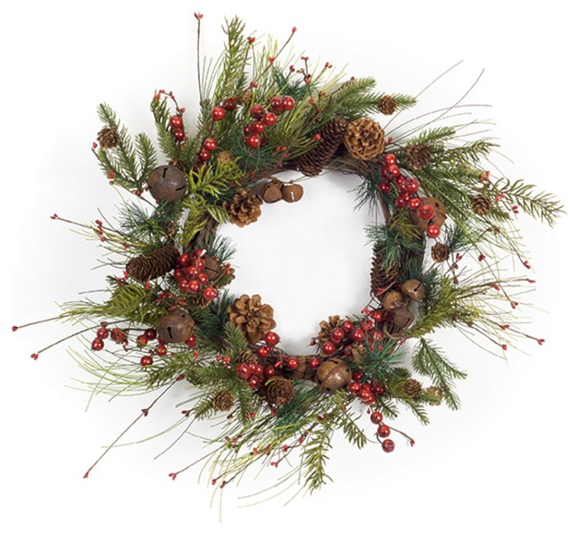 """Pine, Bell And Berry Wreath, 27""""."""