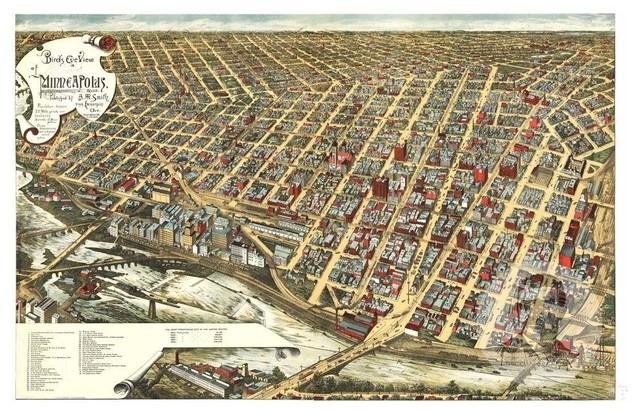 Historic Minneapolis, MN Map 1891, Vintage Minnesota Art Print, 12\