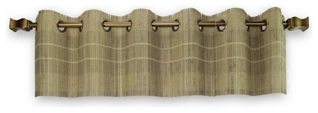 Versailles Bamboo Wood Valance With Grommets, Driftwood.