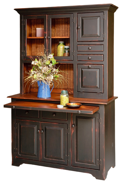 Amish Pine Hoosier Hutch With Two-Tone Antique Black Painted Finish
