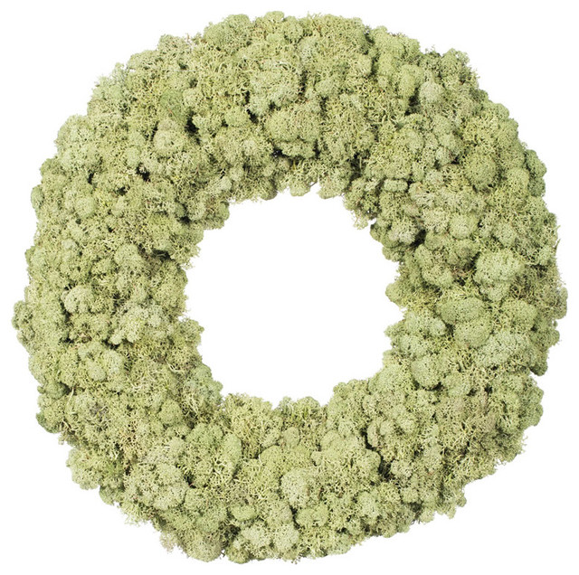 """17.5 """" Reindeer Moss Wreath, Moss Green."""