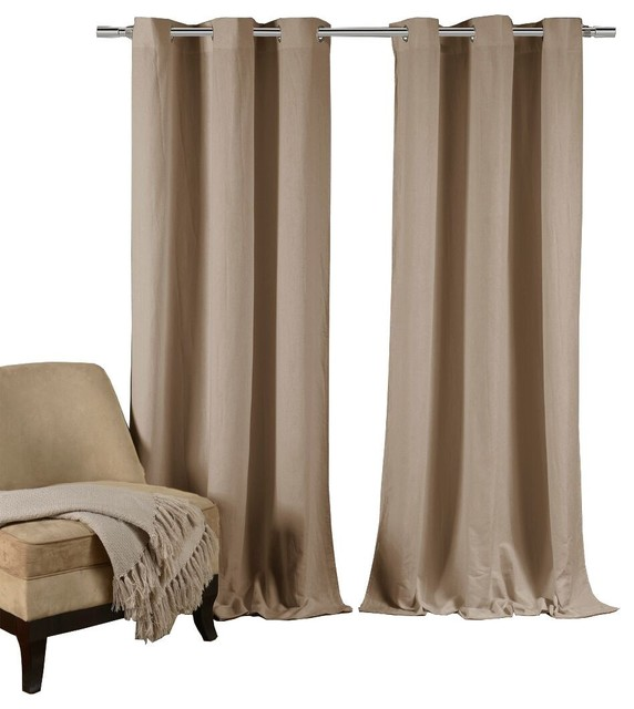Mildred Grommet Crushed Pair Panel, Set Of 2, Taupe.