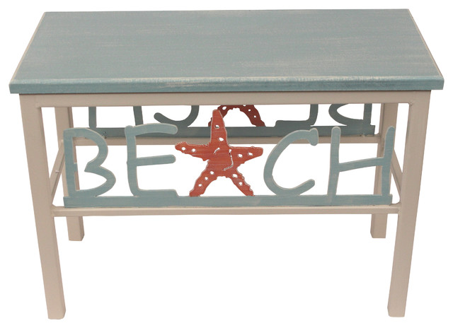 """24"""" Small Bench With Plain Wood Top, Beach/starfish."""