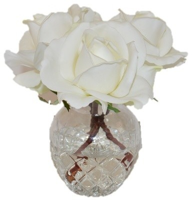 Real Touch White Rose Buds in a Glass Vase