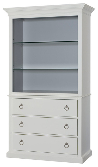 Hammary Hidden Treasures Bookcase White Transitional Bookcases