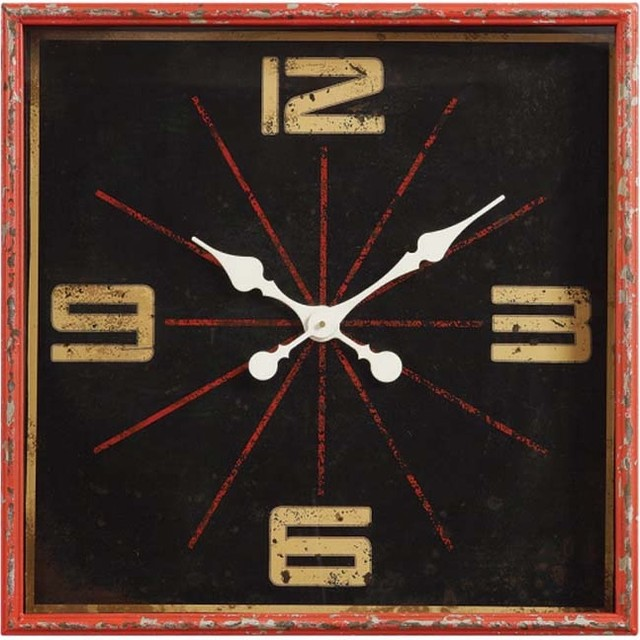 Distressed Red Square Wall Clock
