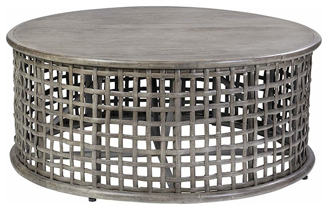 Round Coffee Table Grey Wash Finished Rattan And Teak Wood Hand Crafted