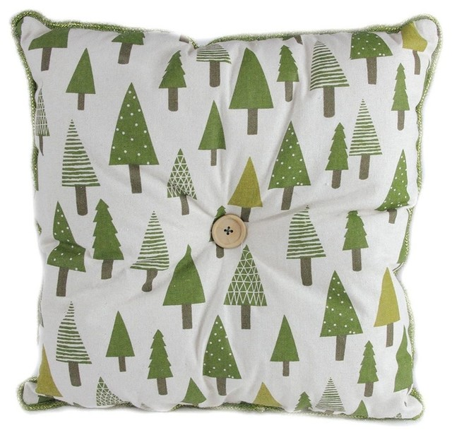 "15"" Forest Green Tree Print Rustic Woodland Decorative Christmas Throw Pillow - Contemporary - Decorative Pillows - by Northlight Seasonal"