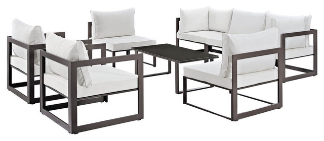 Modway Fortuna 8 Piece Outdoor Patio Sectional Sofa Set, Brown White