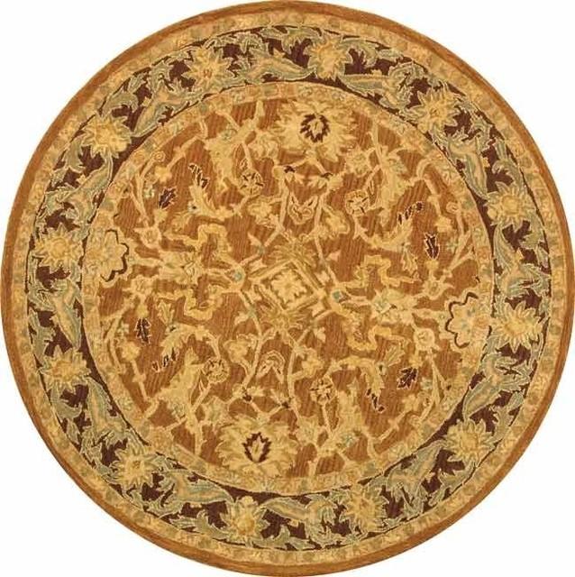 Safavieh Alexis Hand Tufted Rug, Brown And Plum, 8&x27;x8&x27; Round.