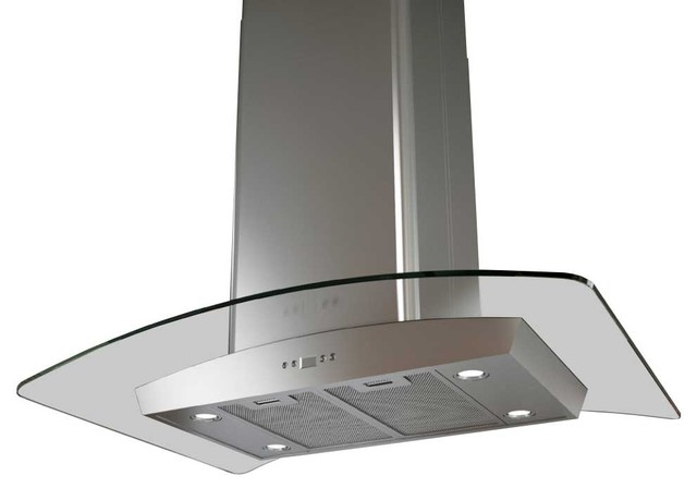 Zephyr 36 Milano Island Mount Glass Canopy Range Hood With 715 Cfm Blower.