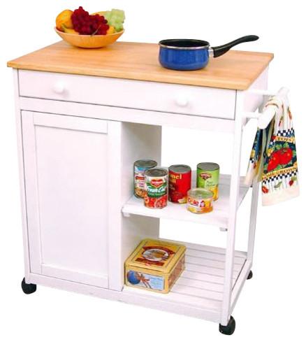 Catskill Craftsmen Preston Hollow White Kitchen Cart with Butcher Block