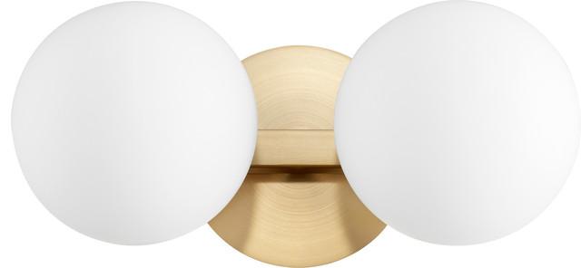 2-Light Globe Vanity Fixture, Aged Brass