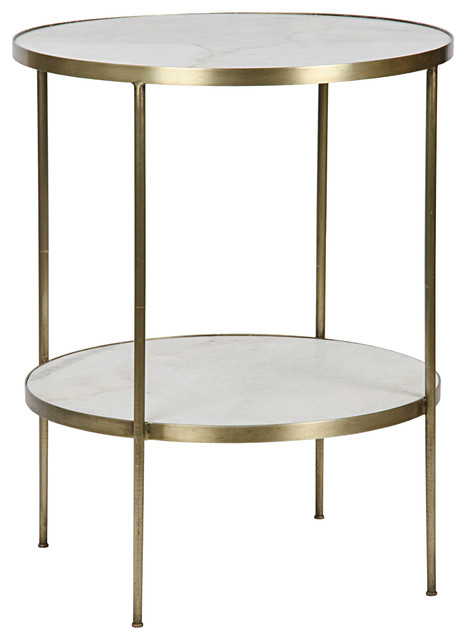 elanor modern gold frame 2-tier white stone round side table