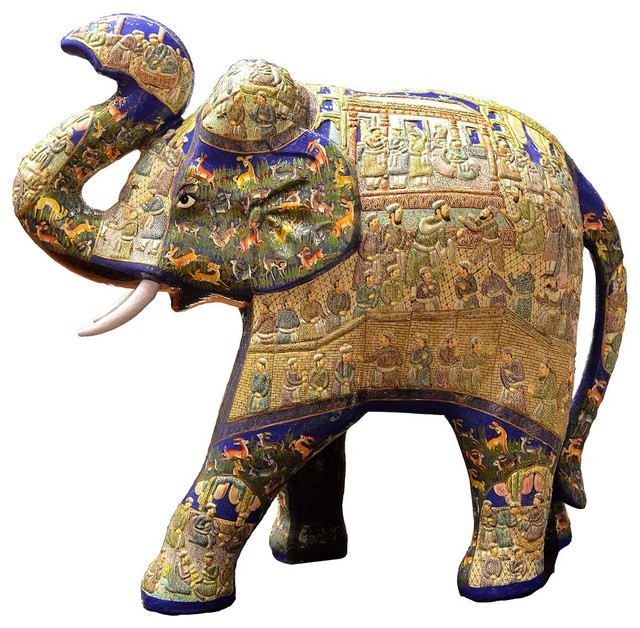 Vintage bathroom mirrors sale - Blue Decorative Papier Mache Embossed Elephant Sculpture