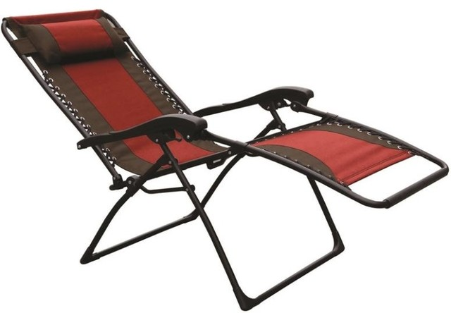 Seasonal Trends Zero Gravity Lounge Patio Chair, Red/Tan, Extra Large  Contemporary