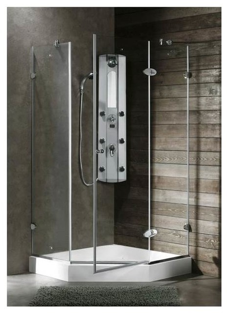 Verona 40 X 40 Frameless Neo Angle .375 In. Clear Glass/Chrome Hardware  Shower E   Contemporary   Shower Stalls And Kits   Los Angeles   By VIGO  Industries