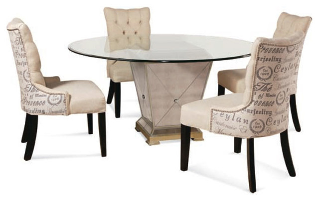 Bassett Mirror 8311 Borghese Mirrored 5 Piece Round Dining Room Set  Contemporary Dining Sets