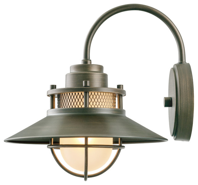 Liam 1 Light Outdoor Wall Mounted Sconce With Frosted Gl Shade Bronze