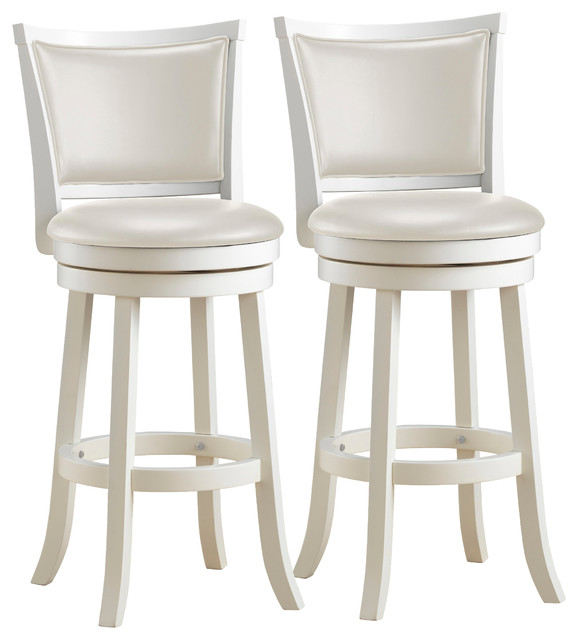 Louise White Wooden Bar Stools, Set Of 2.