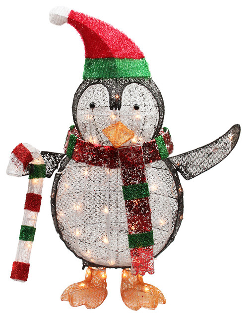Northlight seasonal 34 lighted penguin with candy cane for 48 lighted crystal 3 d outdoor christmas wreath decoration