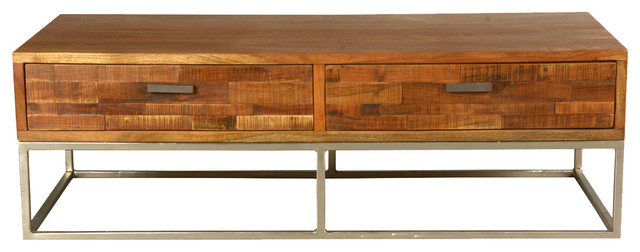 Rustic Wood & Industrial Iron 4-Drawer Coffee Table