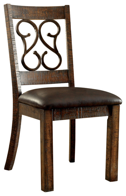 Bon Roga Rustic Leatherette Dining Chair, Walnut Mediterranean Dining Chairs