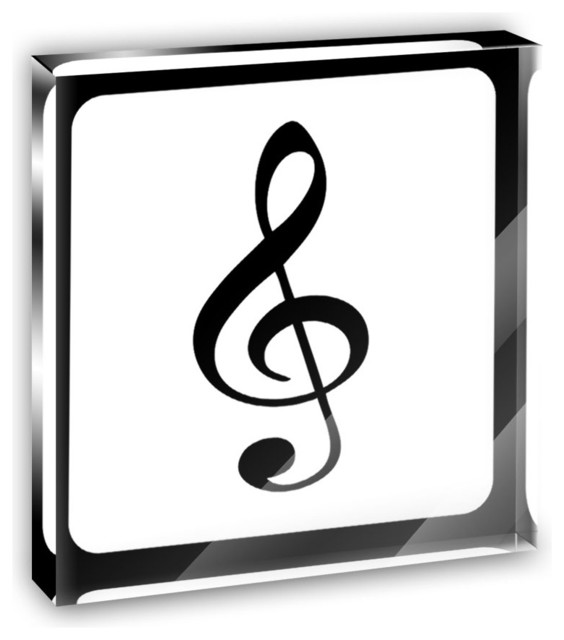 Treble Clef Music Mini Desk Plaque and Paperweight contemporary-decorative-accents