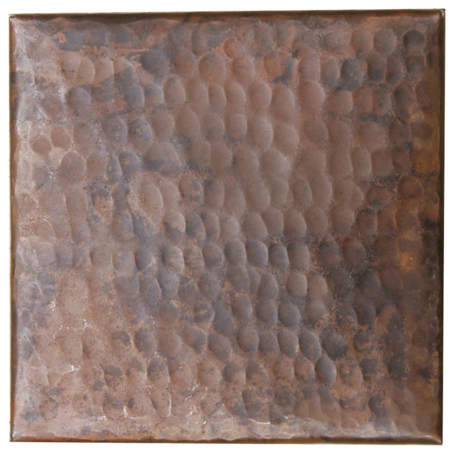 "Copper Crafted Individual Copper Tile 4""x4"" Simple Hammered Design"