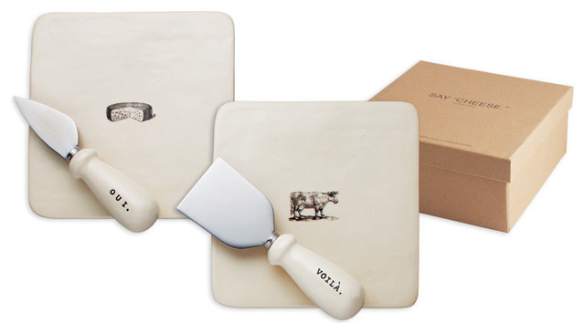 4-Piece Cheese Plate and Knife Set  sc 1 st  Houzz & 4-Piece Cheese Plate and Knife Set - Farmhouse - Cheese Boards And ...