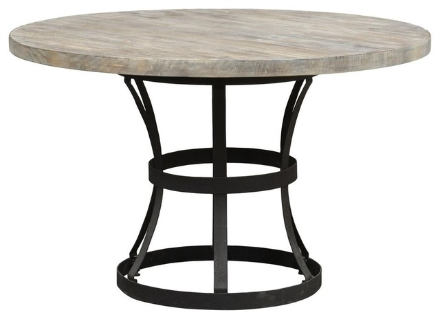 Tribeca Pedestal Dining Table Industrial Dining Tables by