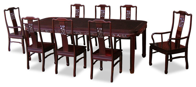 96 Rosewood Dragon Design Dining Table With 8 Chairs Asian – 8 Chair Dining Table Sets