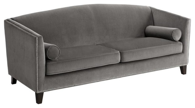 Grace Contoured Back Sofa, Gray With Silver Nailhead Trim Transitional Sofas
