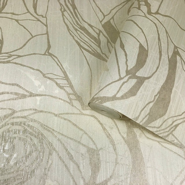 125014 Gold Cream Roses Metallic Wallpaper, Triple Roll - 75.57 Sq.ft. -1