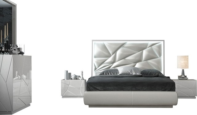 Kiu 5-Piece Modern Bedroom Set, White, King