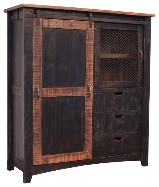 Greenview Rustic Black Farmhouse Style Armoire Gentleman S Chest