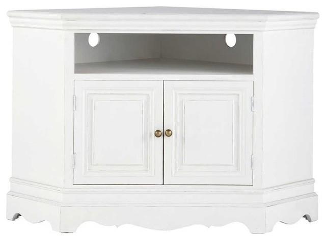 Porta-TV bianco ad angolo in legno di paulonia L 105 cm Joséphine ...