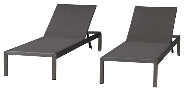 Crested Bay Outdoor Gray Aluminum Chaise Lounge Dark Gray