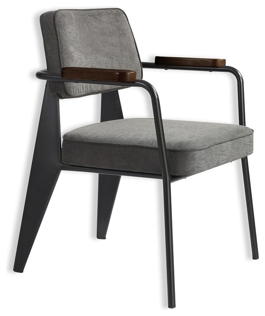 Leather counter stool set of 2 ivory contemporary bar stools - Metallic Hope Vintage Metal Frame Gray Fabric Arm Chair
