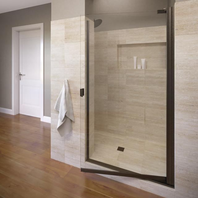 "Armon 32.75-34.25"" Semi-Frameless Pivot Shower Door, Clear, Oil Rubbed Bronze"