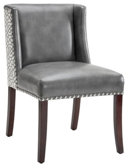Low Back Attractive Dining Chair With Silver Nailhead Trim