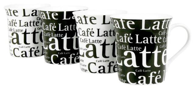 Set Of 4 Orted Cafe Latte Mugs Writing On Black And White