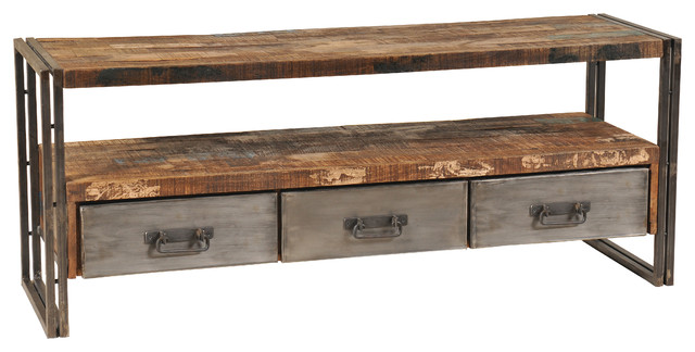 Reclaimed Wood And Metal Plasma Tv Stand  Industrial Entertainment Centers And Tv