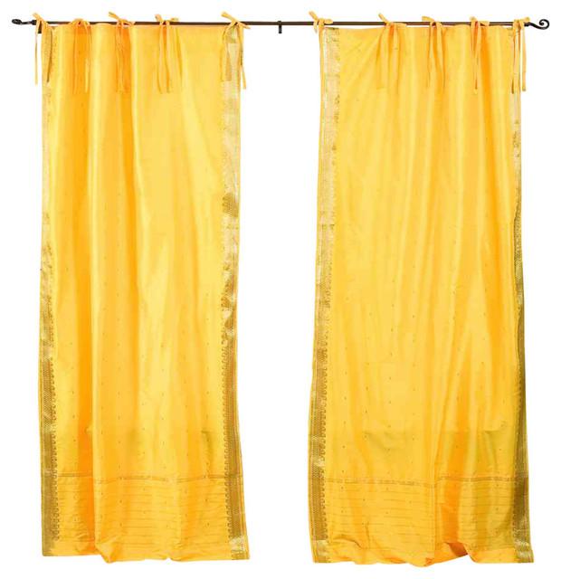Yellow Tie Top Sheer Sari Curtain, Drape And Panel, 43x96, Pair.