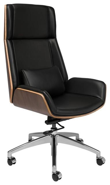 Manhattan Executive Desk Office Chair, Black Leatherette
