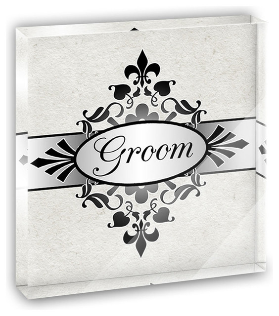Groom on Floral Pattern Mr Man His Husband Mini Desk Plaque and Paperweight contemporary-decorative-accents