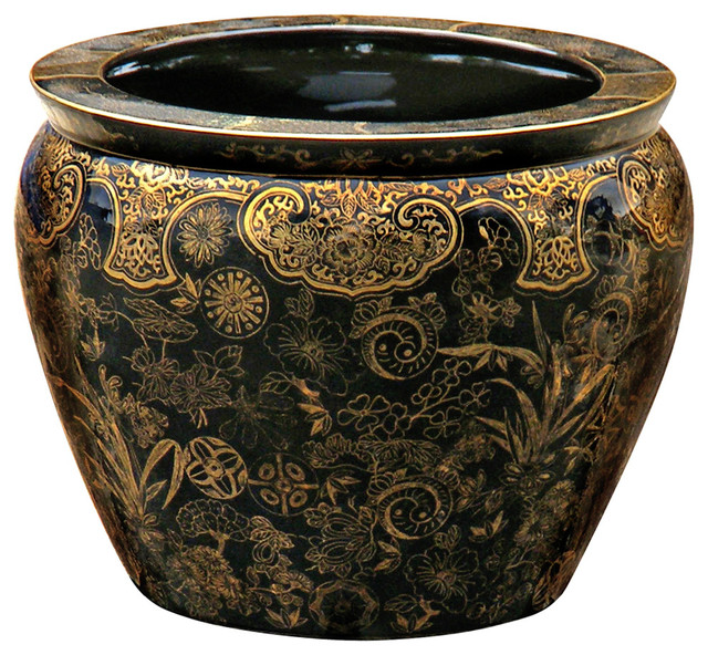 12 Quot Hand Painted Decorative Fishbowl Planter Asian