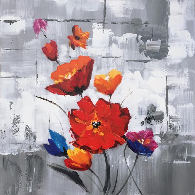 Hand Painted Flowers Wall Decor Artwork II