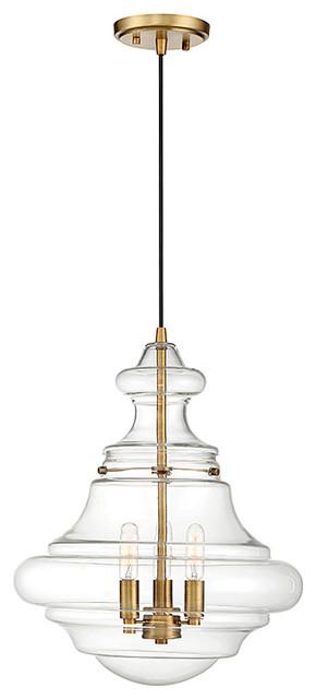 3-Light Pendant, Natural Brass